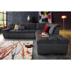 Canapé d'angle convertible en imitation cuir et tissu chiné
