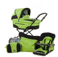 Roan Rocco Classic Pram Stroller 2-in-1 with Bassinet and Seat Unit  Lime