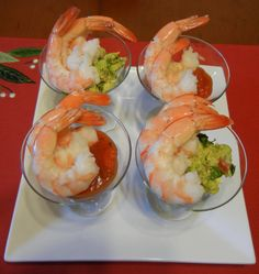 Red and Green Holiday Shrimp Cocktail.
