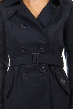 Pea Coat Double Button Belted