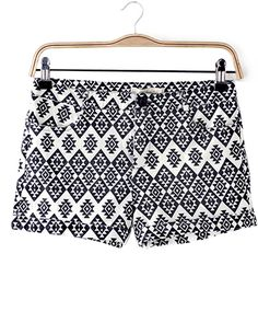 Elastic Geometric Pattern Print Hot Pants @yoyomelodydress