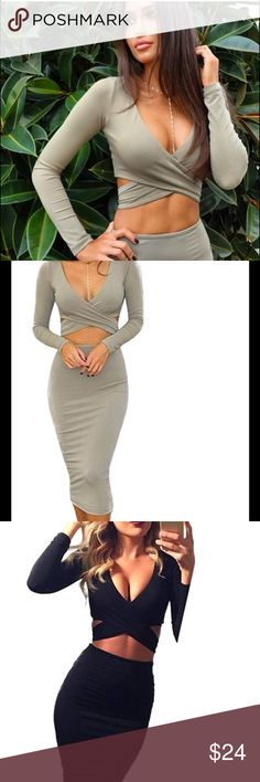 Long Sleeve Cut-Out Bandage Bodycon Midi Dress Small Long Sleeve Cut-Out Bandage Bodycon Midi Dress.  NWOT, never worn from a pet and smoke free home. Dresses