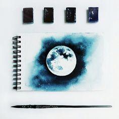луна, акварель, блокнот, рисунок