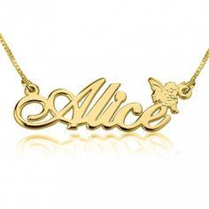 Collar con Nombre  y Ángel en plata chapada en Oro de 24K
