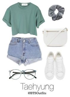 Concert with Taehyung is part of Outfits - A fashion look from February 2016 by btsoutfits featuring Levi's, Alexander McQueen, Forever 21 and Topshop Casual School Outfits, Cute Teen Outfits, Teenage Girl Outfits, Cute Comfy Outfits, Kpop Fashion Outfits, Cute Summer Outfits, Outfits For Teens, Polyvore Outfits, Teen Fashion