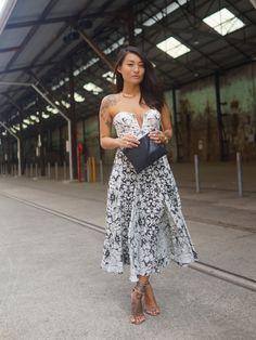 www.facehunter.org Black and white strapless dress.