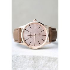 In Due Time Rose Gold and Dark Taupe Watch (¥2,540) ❤ liked on Polyvore featuring jewelry, watches, gold, red gold jewelry, pink gold jewelry, rose gold wrist watch, rose gold watches and lulu jewelry