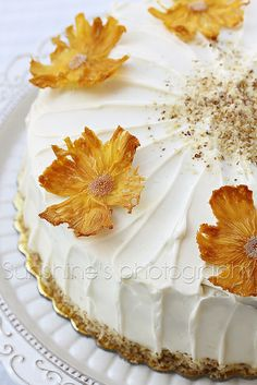 Immensely elegant, sweetly beautiful Tropical Cake with Pineapple Flowers.