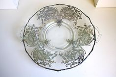 Serving Platter Art Deco Black Glass Sterling Silver Scroll Overlay Dish Plate Glass Dishes