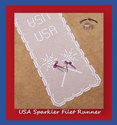 """I added """"USA Sparkler Filet Runner - free pattern"""" to an #inlinkz linkup!http://www.crochetmemories.com/blog/usa-sparkler-filet-runner/"""