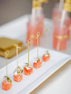 Simple, fresh watermelon and feta appetizers flavored with red wine vinegar and mint pair perfectly with bubbly champagne.