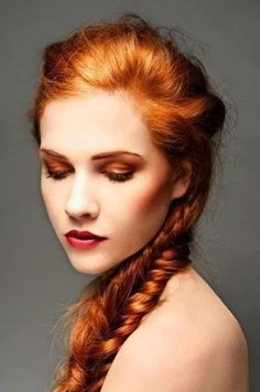 Beautiful redhead braid style