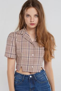Dayana Glen Check Short Blouse-Pink - All About Crop Top Outfits, Mode Outfits, Casual Outfits, Fashion Outfits, Plaid Shirt Outfits, Crop Shirt, Shirt Blouses, Women's Shirts, Ladies Shirts