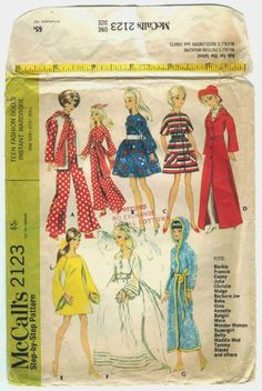 Vintage1960's McCall's Sewing Pattern number 2123 - for 11.5 inch dolls.
