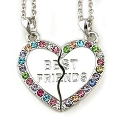 Best Friends Forever BFF Multicolor Pink Green Purple Blue Heart Two Pendant Necklace Fuchsia Stone Teen Teenager Lady Women Engraved Letters Silver Tone Fashion Jewelry