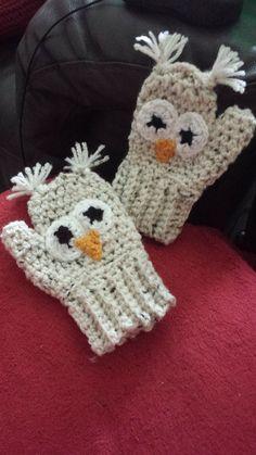 Owl Mittens Band, Owls, My Girl, Gloves, Patterns, Knitting, Children, Crochet, Sweaters