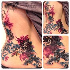 flower watercolor lace tattoo - Google Search