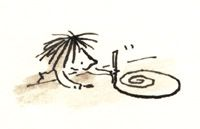 illustration of a girl drawing a swirl on a table wtih a pencil