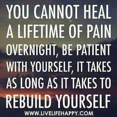 Be patient with me. I'm healing from a lifetime of emotional and psychological abuse from my mother. ~Caroline