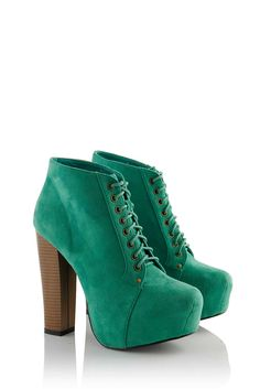 Green Block Heel Lace Up Boots I have the exact same pair!!