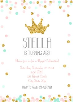 Princess Crown Pink, Mint, Gold Glitter Sprinkle Confetti Invitation DIY **Also available Just mint or just pink! by BelvaJune on Etsy (null)