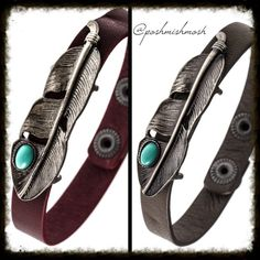2 Feather Charm Faux Leather Cuff Bracelets You're getting both bracelets: one gray and one burgundy. Jewelry Bracelets