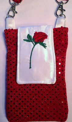 Red Rose Cell Phone I-Phone Purse Cross Body by belairevillage