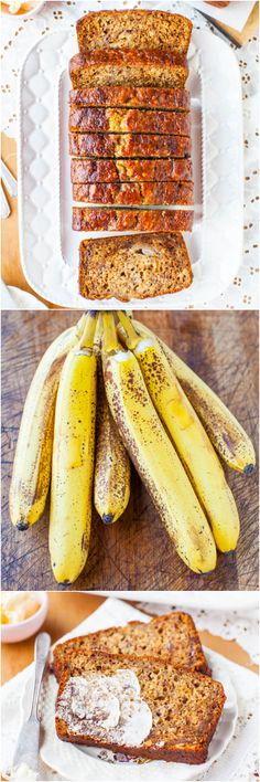 The BEST Banana Bread (Six-Banana Banana Bread!) – Averie Cooks Six-Banana Banana Bread – Yes, 6 bananas in 1 loaf means it's super soft, moist & robust banana flavor! Now you know what to do with all your ripe bananas! Breakfast Recipes, Dessert Recipes, Best Banana Bread, Banana Bread Recipes, Banana Bread Recipe 6 Bananas, Love Food, Sweet Recipes, Food And Drink, Cooking Recipes