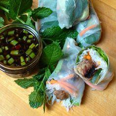 Vietnamese Fresh Rolls with BBQ Pork Meatballs