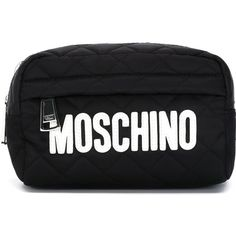 Moschino Quilted Makeup Bag (380 BRL) ❤ liked on Polyvore featuring bags and black