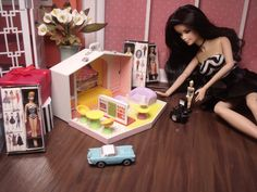 Barbie playing Barbies ...1/6 scale dollhouse diorama by CHANIKAVA/Anastacia Leigh