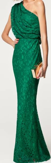 CH Carolina Herrera Spring 2013 #lace ... I'm obsessed with green. Love this!