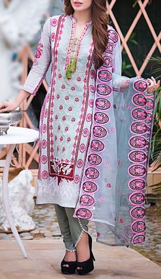 Buy Grey Embroidered Cotton Lawn Dress by Kalyan 2016