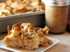 Apple Bread Pudding with Caramel Dessert Sauce from CookingChannelTV.com