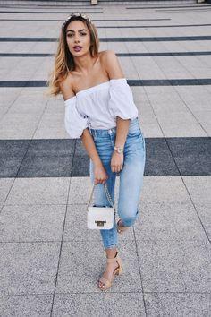 @roressclothes clothing ideas #women fashion white off shoulder blouse, jeans