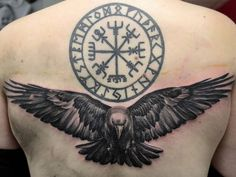 """#tattooblackandgrey #tattoo #tudorbtattoo #raven #raventattoo #celtic #nordic #circle #symbols #signs #blackandgreytattoos #feathers #wings #crow…"""