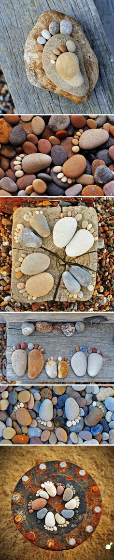 How cute is this? You could probably make dog/cat prints too! Wonder if you could place them into wet cement alongside handprints and they'd look as cute??? hmmmm..... (DIY idea, gardening, harden, home decor, outdoor, stones--this is not a tutorial)
