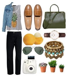 """Pineapples"" by frhnablh ❤ liked on Polyvore featuring Golden Goose, Tod's, Fendi, Daniel Wellington, Lucky Brand, Eos, Ray-Ban and Fuji"