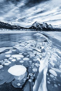 Gas bubbles in this arctic lake create these amazing formations in the ice #BeautifulNauture #AmazingWorld