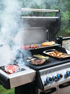 This stainless steel, 4 burner propane grill is built to last. Inside, porcelianized cast iron cooking grids provide the ideal sear with their Iconic WAVE™ pattern that lets you know it's a Napoleon. Stainless steel sear plates are staggered to prevent flare-ups, creating flavor, not flames. Enjoy easy lighting using the JETFIRE™ ignition system and ergonomic knobs. Control temperature within the grill for multiple cooking styles and options thanks to the ACCU-PROBE™ temperature gauge. Ignition System, Cast Iron Cooking, Napoleon, Barbecue, Grilling, Flare, Kitchen Appliances, Canada, Stainless Steel