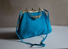 Blue suede women's bag uncommon bag handmade bag by Malikdesign