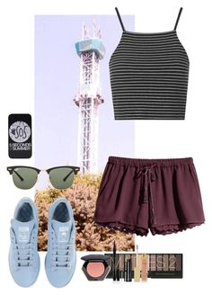 Iowa State Fair #312 by ambere3love34 on Polyvore featuring Topshop, H&M, adidas, Ray-Ban, AERIN, Clinique and Elizabeth Arden