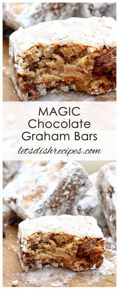 Magic Chocolate Graham Bars Recipe: These powdered sugar coated cookie bars have a somewhat crazy ingredient list, but they're absolutely delicious and so easy to make! Magic Cookie Bars, Cookie Brownie Bars, Chocolate Cookie Bars, Magic Bars, Sugar Cookie Bars, 13 Desserts, Dessert Recipes, Bar Recipes, Cheesecake Desserts