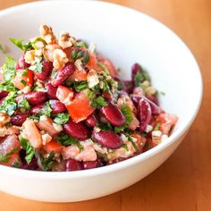 Vegan Tomato, Kidney Bean and Parsley Salad with Walnuts {Gluten-Free}