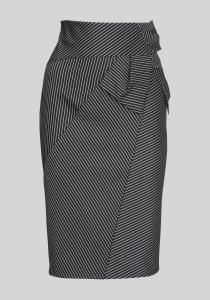 Striped, pieced pencil skirt - with interesting hip/draped detailing.