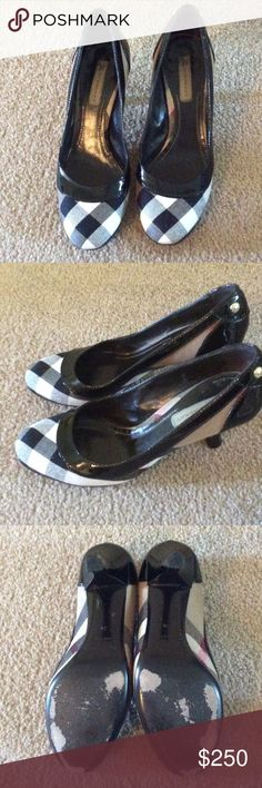 Burberry kitten heels Classic Burberry Plaid kitten heels. Gently used, heel taps are still in perfect condition. Burberry Shoes Heels