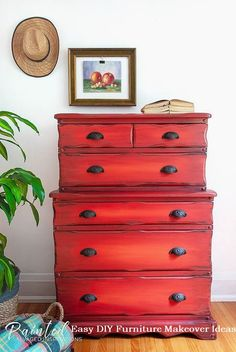 Thrift Store Two Tier Red Dresser Makeover with Dixie Belle's Chalk Mineral Paint Red Painted Furniture, Dresser Furniture, Paint Furniture, Furniture Making, Crate Furniture, Salon Furniture, Bedroom Furniture, Geek Furniture, Bedroom Drawers