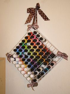 Amanda Alcock great idea for all your finger nail polish paint storage. The paint rack was made from wooden spools and wire grid shelves. May work for nail polish? Sewing Room Storage, Paint Storage, Sewing Rooms, Craft Storage, Sewing To Sell, Sewing Box, Cute Crafts, Diy Crafts, Nail Polish Storage