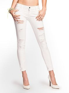 Destroyed White Skinny Jeans | Products, Skinny jeans and Skinny