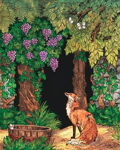 An illustration of Aesop's fable The Fox and the Grapes. Think I'm going to start a series of fairy tale illustrations for a personal project (with some. The Fox And The Grapes Art And Illustration, Grape Drawing, Art Fox, Story Drawing, Drawing For Kids, Raisin, Mythology, Journaling, Fairy Tales